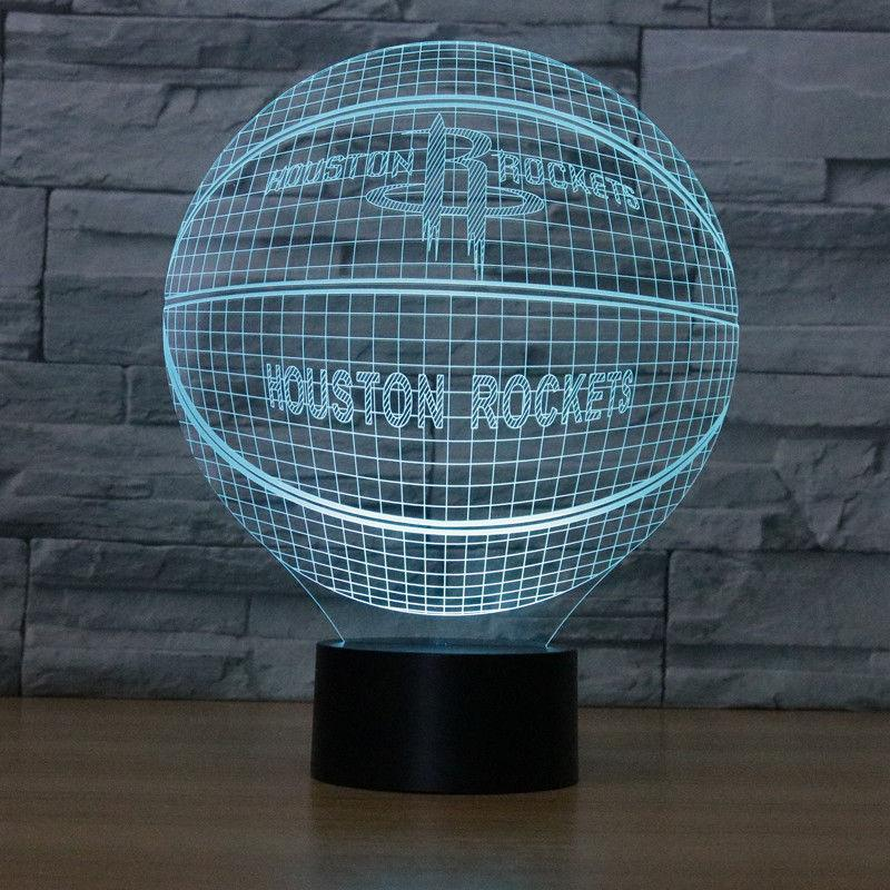Houston Rockets Lampe optique LED illusion 3D 🏀 - Ma Deco Maison
