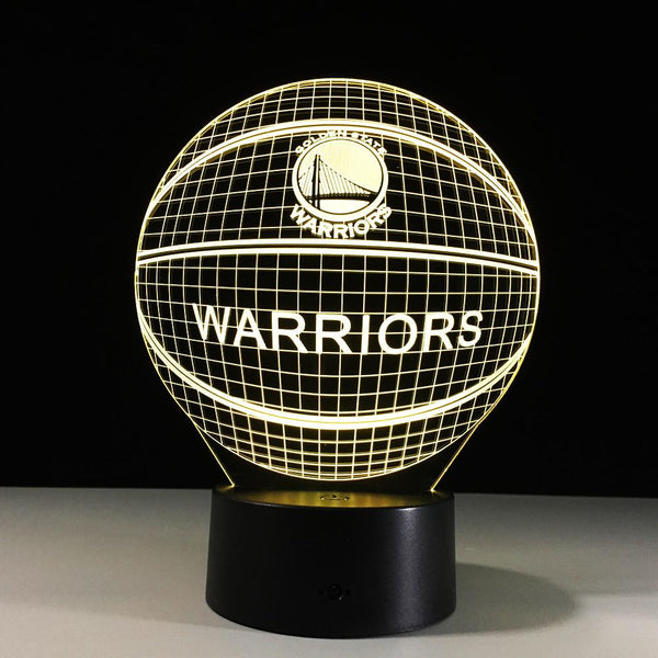 Golden State Warriors Lampe optique LED illusion 3D 🏀 - Ma Deco Maison