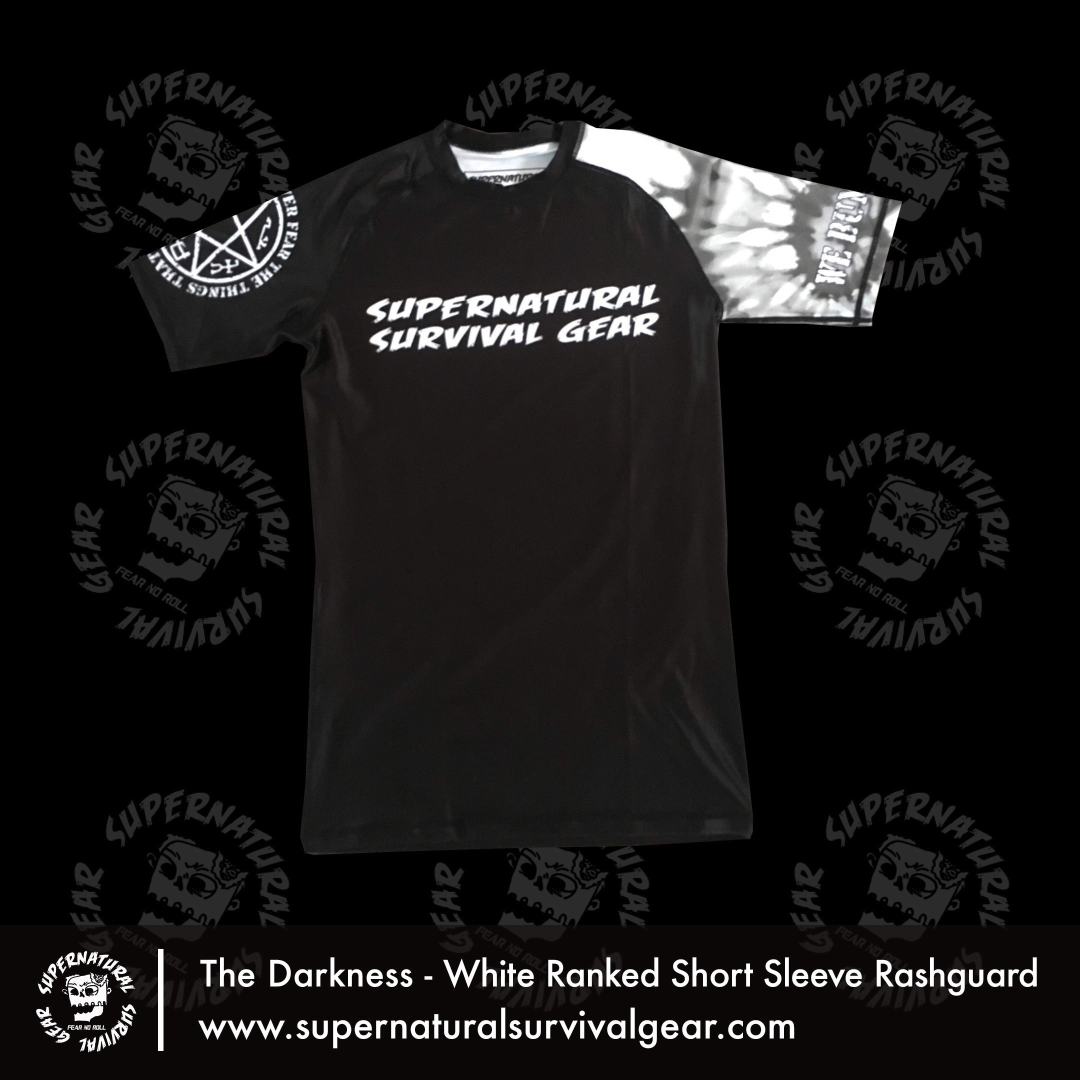 Darkness White Ranked (IBJJF Approved) Rash Guard (Short-sleeve)