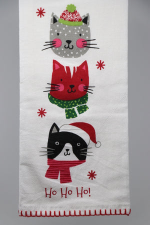Flour Sack Towel - Christmas Kitties, Ho Ho Ho
