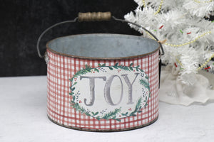 Christmas Bucket, JOY - Small  (3 Sizes available)