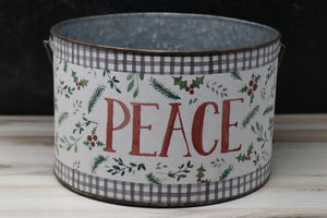 Christmas Bucket, PEACE - Large (3 Sizes available)