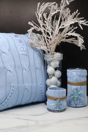 Blue Sweater Vase and Pillow Set