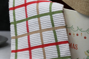 Towel - Windowpane, Cinnabar, Ribbed