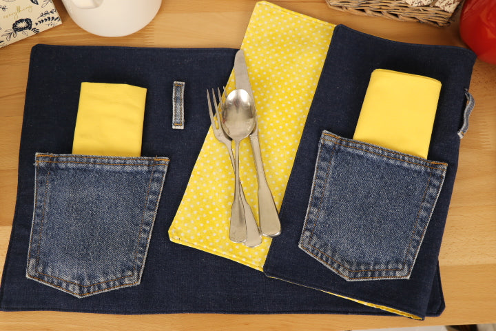 Placemat - Blue Denim, Napkin - Bright Yellow