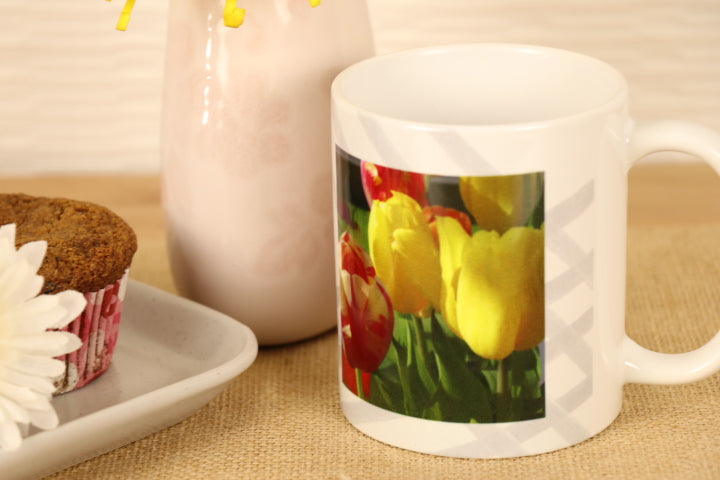 "Coffee Mug - Tulips, ""Happiness Lies Within"""