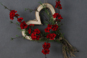 Floral Wall Decor - Birch Wood Heart with Plum Blossoms
