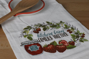 Flour Sack Towel - Kitchens Bring Families Together (Strawberry)