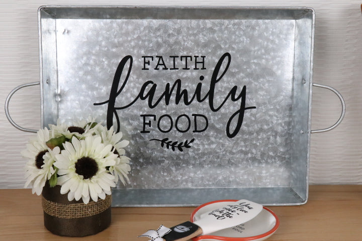 Galvanized Serving Tray - Family