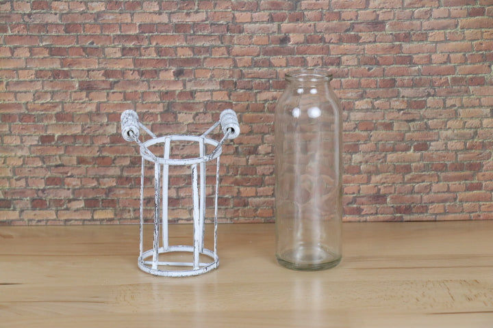 Wire Basket Glass Bottle - Whitewashed Vintage Look