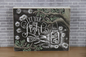 Wall Decor-Chalk Sign - Let Your Light Shine
