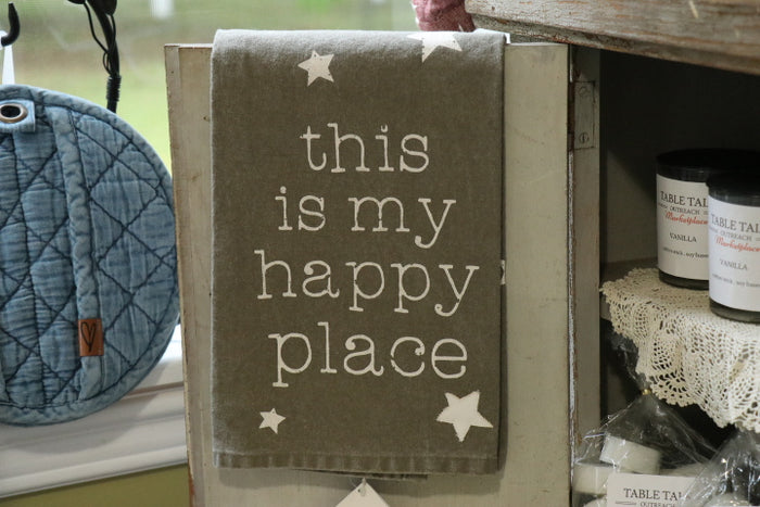 Rustic Dish Towel - This is My Happy Place