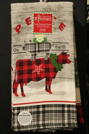 Dual Purpose Towel - Farmhouse, Peace on Earth, Cow, Pig, Chick