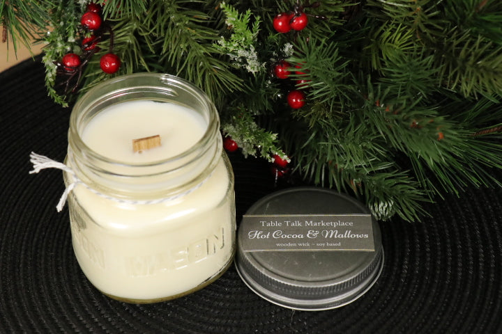 Wood Wick Jar Candle  - Hot Cocoa & Mallows