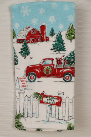 Towel - Red Barn, Truck, Tree Farm
