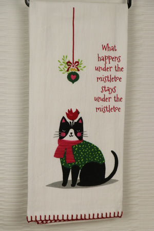Flour Sack Towel - Cat, Mistletoe
