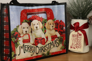 Tote, Gift Bag - Christmas Puppies