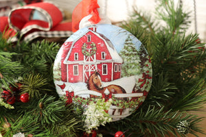 Christmas Ornament - Barn with Horse