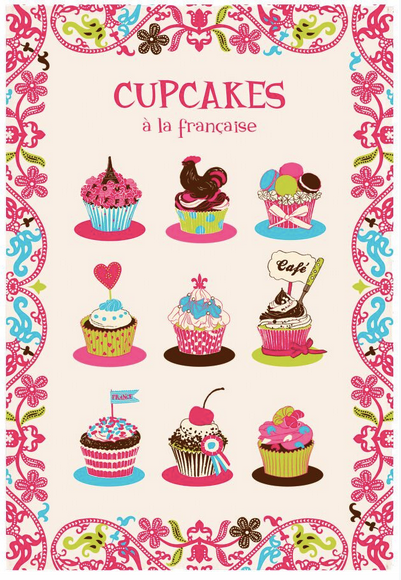 Kitchen Towel - (French Series) CUPCAKES