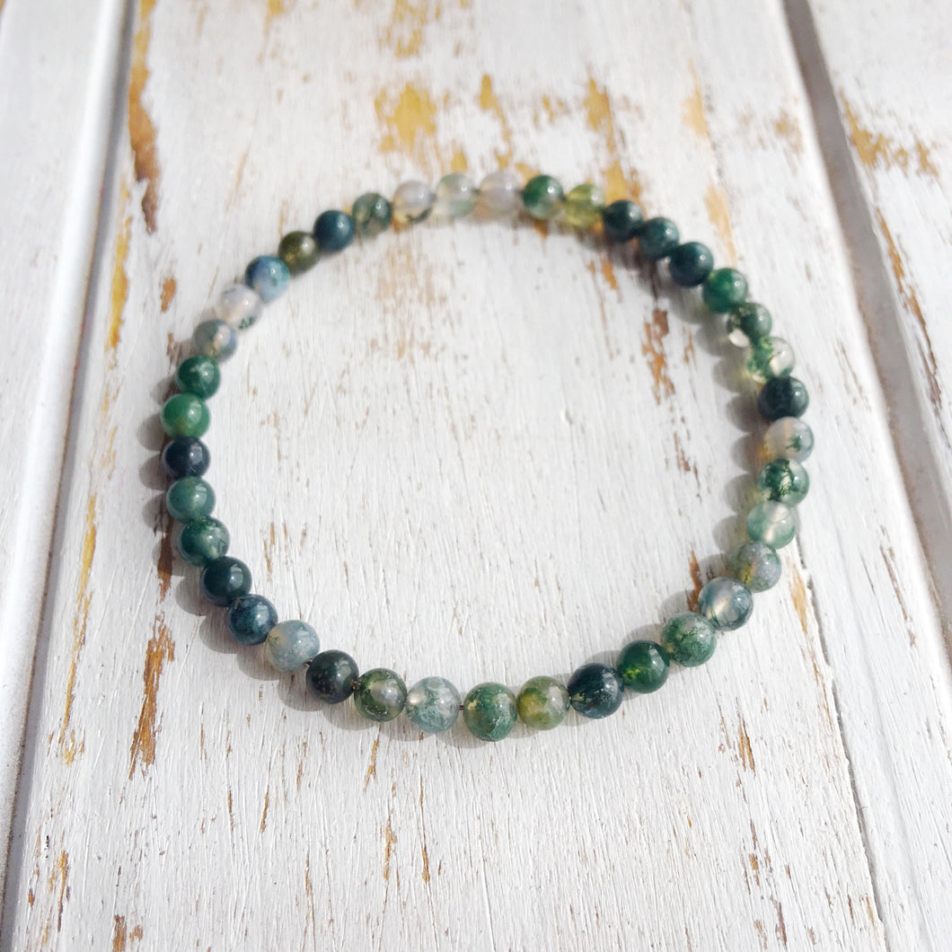 New Beginnings ~ 4mm Moss Agate Bracelet - Hippie Love Bracelets