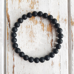 Self-Confidence ~ 6mm Matte Black Onyx Bracelet - Hippie Love Bracelets