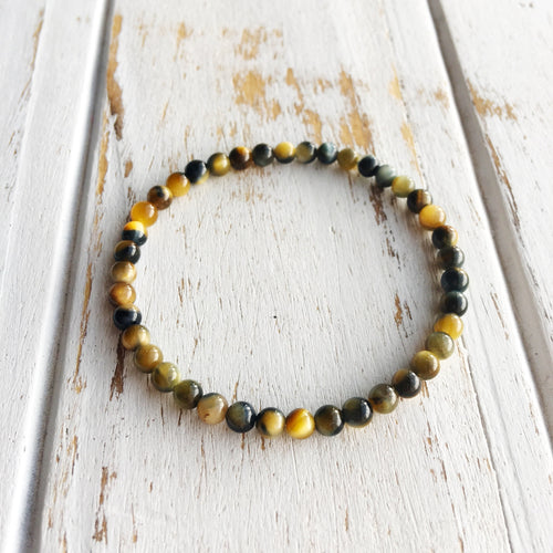 Focus The Mind ~ 4mm Multi-Colored Tiger Eye Bracelet - Hippie Love Bracelets
