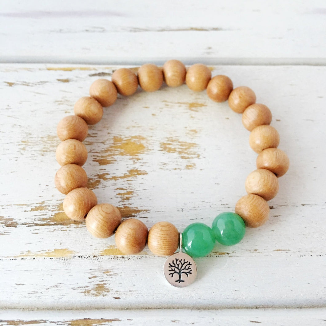 I Attract Abundance and Success Bracelet ~ Aventurine & Sandalwood - Hippie Love Bracelets