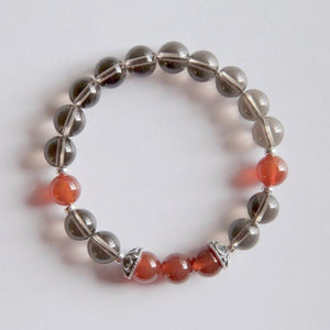 Healing of Depression ~ Genuine Smokey Quartz & Carnelian - Hippie Love Bracelets
