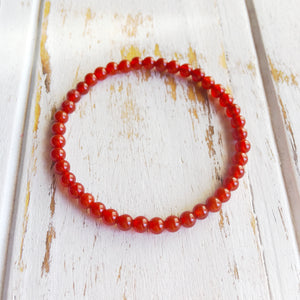 Determination and Inner Strength ~ 4mm Carnelian Bracelet - Hippie Love Bracelets