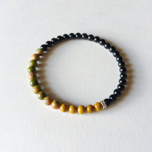 Balance, Patience & Protection Bracelet ~ 4mm Black Onyx, Unakite & Yellow Jasper - Hippie Love Bracelets