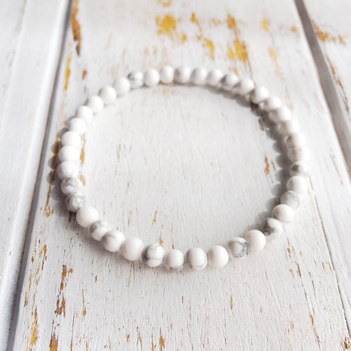 Calm & Relief ~ 4mm White Howlite Bracelet - Hippie Love Bracelets