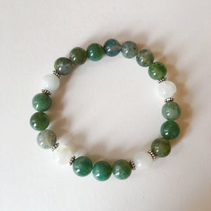 Balance & Inner Growth ~ 8mm Moss Agate & Moonstone - Hippie Love Bracelets