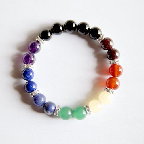 All 7 Chakras Bracelet ~ Genuine Gemstones - Hippie Love Bracelets