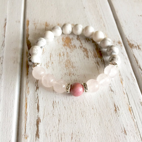 Help to Heal the Heart Bracelet ~ Rhodonite, Rose Quartz & White Howlite - Hippie Love Bracelets