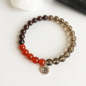 Energy & Success - 6mm Carnelian, Garnet and Smokey Quartz - Hippie Love Bracelets