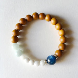 Courage, Protection & Balance Bracelet ~ Kyanite, Aquamarine & White Agate - Hippie Love Bracelets