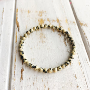 Ground and Center ~ 4mm Dalmatian Jasper Bracelet - Hippie Love Bracelets