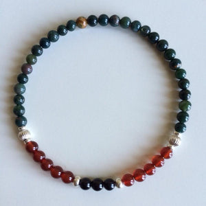 Energy & Grounding ~ Bloodstone, Carnelian & Black Tourmaline - Hippie Love Bracelets