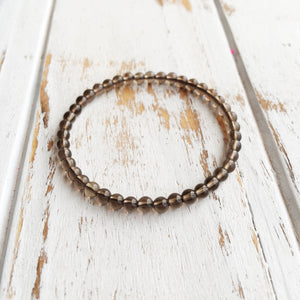 Relieve Depression ~ 4mm Smokey Quartz Bracelet - Hippie Love Bracelets