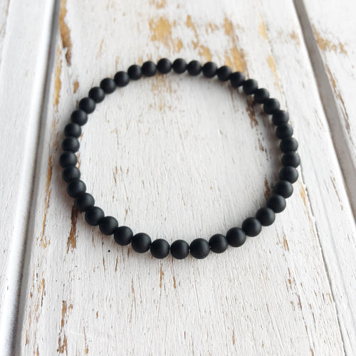 Defend Against Negativity ~ 4mm Matte Black Onyx Bracelet - Hippie Love Bracelets