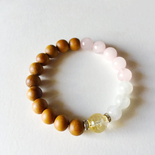 Clarity Love & Inner Worth Bracelet ~ Citrine, Moonstone & Rose Quartz - Hippie Love Bracelets