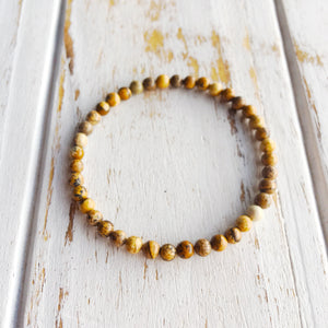 Meditation ~ 4mm Picture Jasper Bracelet - Hippie Love Bracelets