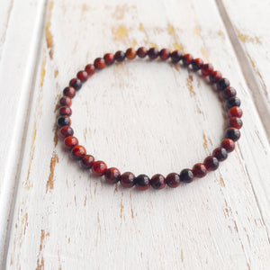 Integrity and Willpower ~ 4mm Red Tiger's Eye Bracelet - Hippie Love Bracelets