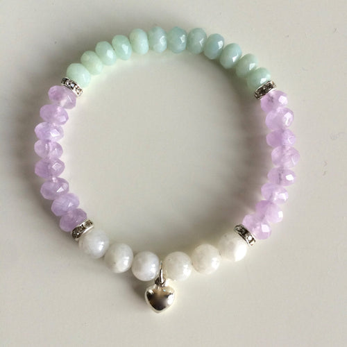 Genuine Round Moonstone & Faceted Amazonite and Cape Amethyst - Hippie Love Bracelets