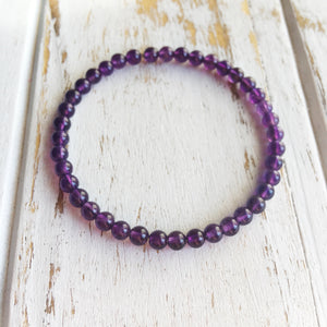 Positive Energy ~ 4mm Amethyst Bracelet - Hippie Love Bracelets