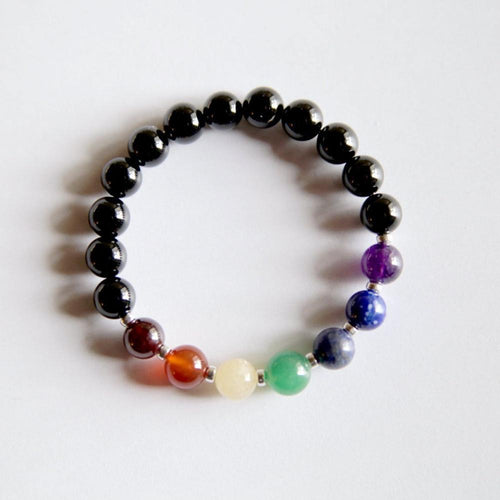 7 Chakras Mix ~ Black Onyx - Hippie Love Bracelets