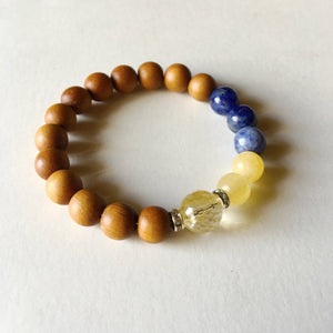Clarity, Confidence & Intellect Bracelet ~ Citrine, Sodalite & Yellow Calcite - Hippie Love Bracelets