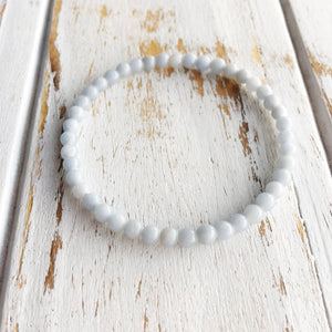 Compassion and Understanding ~ 4mm Angelite Bracelet - Hippie Love Bracelets