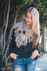 Beautiful Mocha Infinity Scarf w/ Buttons - Hippie Love Bracelets