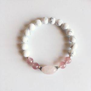 Love & Fertility Bracelet ~ Muscovite, Rose Quartz and White Howlite - Hippie Love Bracelets